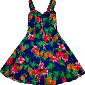 Hawaiian Fit & Flare Sundress M Royal Creations